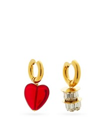 Mismatched glass & 24kt gold-plated hoop earrings