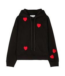 Heart-embroidered cotton-blend sweatshirt