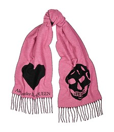 Skull and Heart pink wool-blend scarf