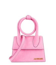 Le Chiquito Noeud pink suede top handle bag