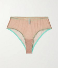Juno lace-trimmed stretch-tulle briefs