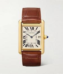 Tank Louis Cartier 25.5mm large 18-karat gold and alligator watch
