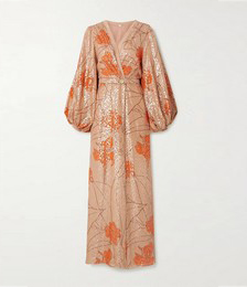 + NET SUSTAIN Bella Illusion belted printed fil coupé silk-blend maxi dress