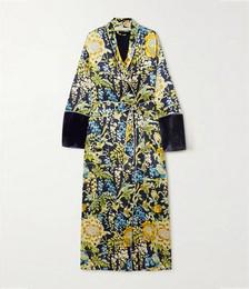 Capability velvet-trimmed floral-print silk-satin robe