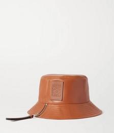 Appliquéd leather bucket hat