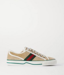 Tennis 1977 logo-embroidered shearling-lined suede and canvas sneakers