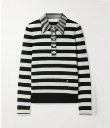 Striped wool and cashmere-blend sweater