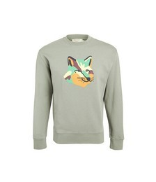 Crew Neck Sweatshirt with Neon Fox Print