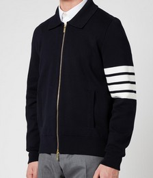 Men's Four-Bar Sleeve Bomber Jacket - Navy