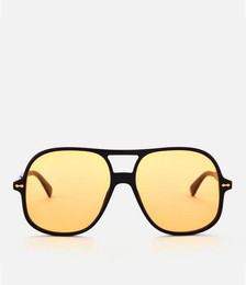 Oversized Aviator Sunglasses - Black/Yellow