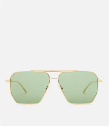 Angular Aviator Sunglasses - Gold/Green