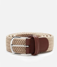 Polished Silver Buckle Woven Belt - Beige