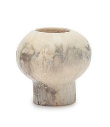 Pearl round marbled-resin vase