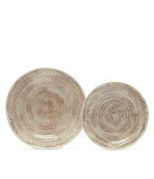 Glazed-ceramic dish and plate set