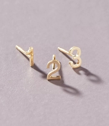 14K Yellow Gold Numeral Post Earring