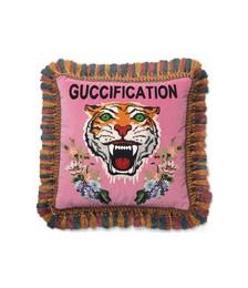 tiger embroidered velvet cushion