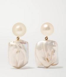 Mondrian 14-karat gold pearl earrings