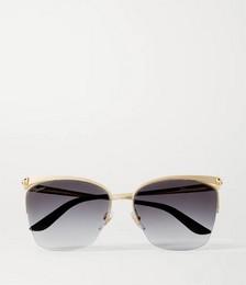 Cat-eye gold-tone sunglasses