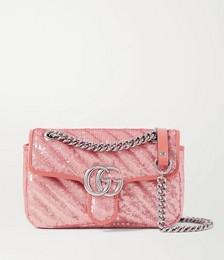 GG Marmont mini leather-trimmed sequined silk shoulder bag