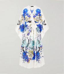 Belted floral-print silk-satin robe