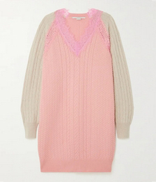 Lace-trimmed cable-knit wool mini dress