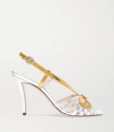 Crystal-embellished metallic leather sandals