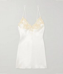 Lace-trimmed silk-charmeuse chemise