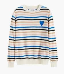 Cream Heart Breton Cashmere Sweater