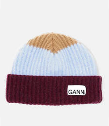 Block Colour Knitted Recycled Wool Beanie