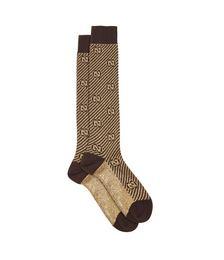 GG lamé-stripe cotton-blend socks