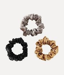 Set of three large silk hair ties