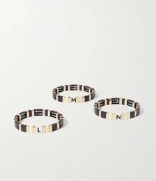 Neutral Alphabet Soup enamel and gold-tone bracelet