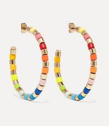 U-Tube gold-tone and enamel hoop earrings