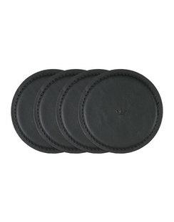 Leather Coasters - Set Of 4 - Black