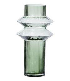 Angled Glass Green Large Vase