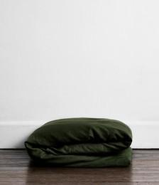 Olive 100% Flax Linen Duvet Cover
