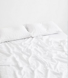White 100% Flax Linen Fitted Sheet