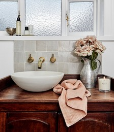 100% Linen Waffle Hand and Face Towel in Terracotta