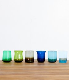 Glass Tumblers in Blue/Green (Set of 6)