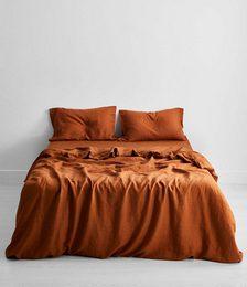 Rust 100% Flax Linen Bedding Set