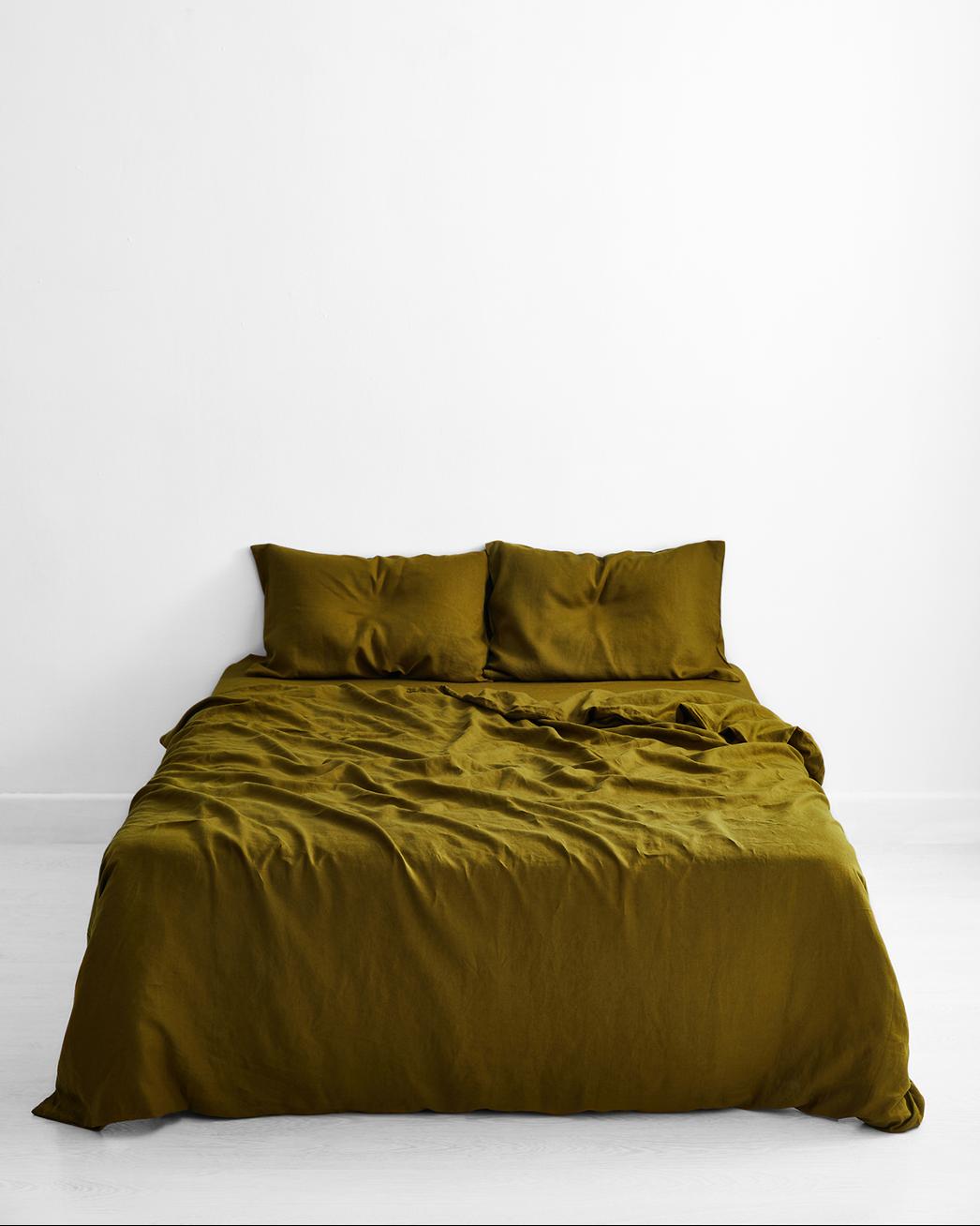 Khaki 100% Flax Linen Bedding Set
