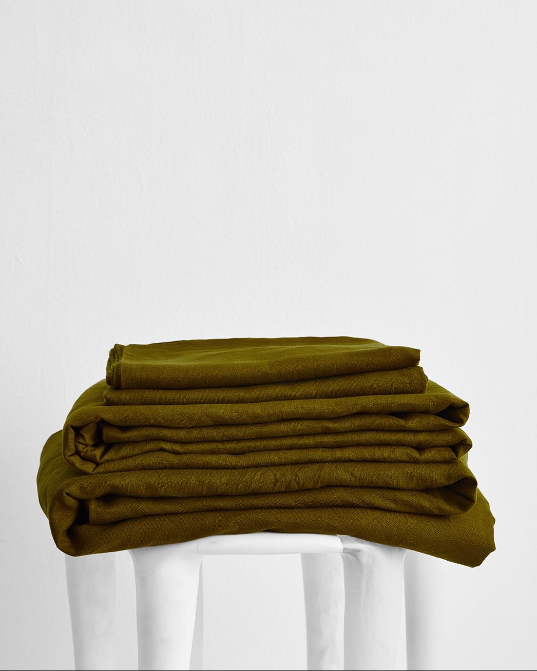Khaki 100% Flax Linen Sheet Set