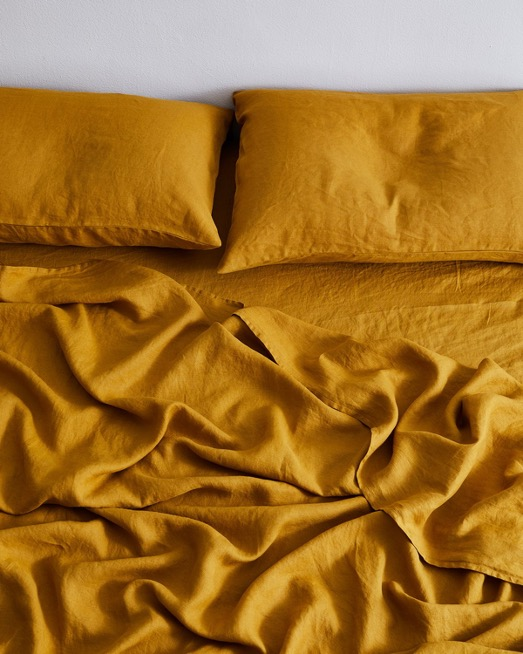 Turmeric 100% Flax Linen Fitted Sheet