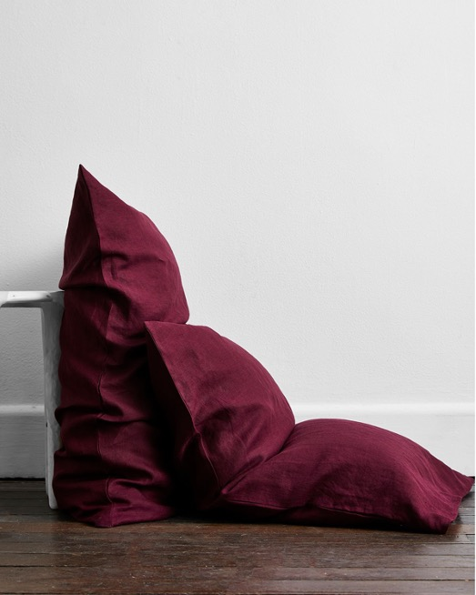 Ruby 100% Flax Linen Pillowcases (Set of Two)