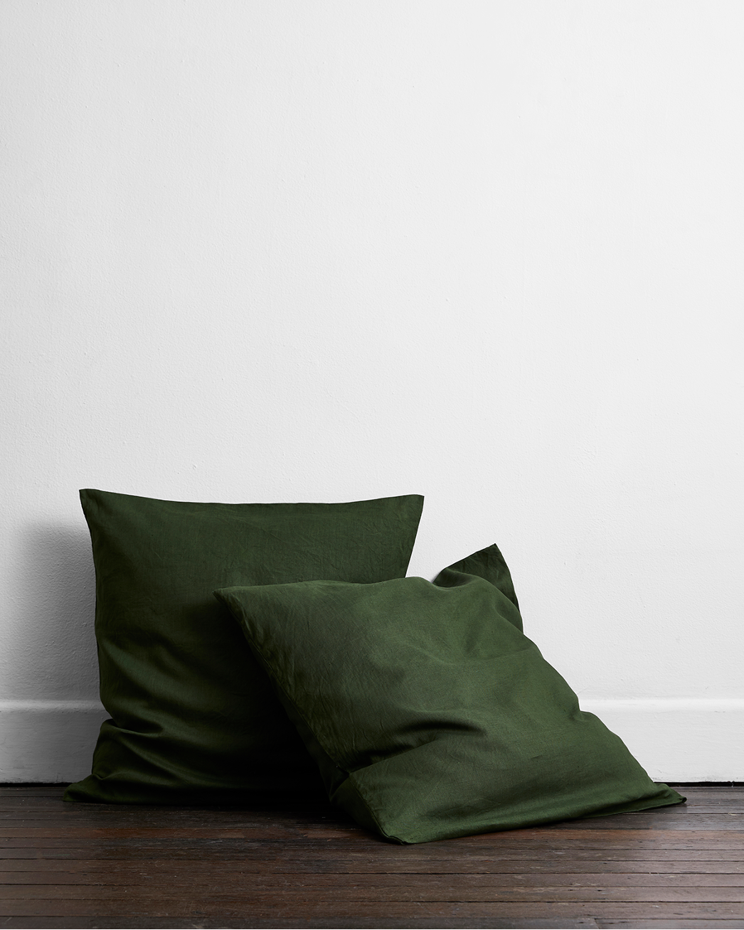 Olive 100% Flax Linen European Pillowcases (Set of Two)