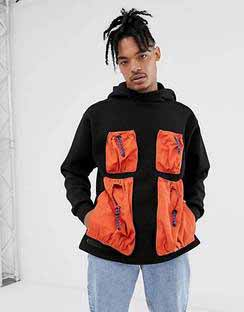 Oversized Hoody with Contrast Utility Pockets