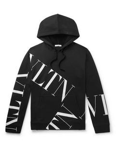 Logo-Print Loopback Cotton-Blend Jersey Hoodie