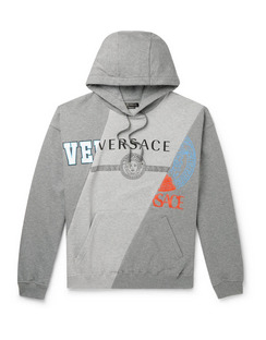 Panelled Printed Fleece-Back Cotton-Jersey Hoodie