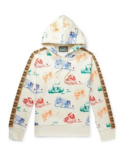 + Disney Webbing-Trimmed Printed Loopback Cotton-Jersey Hoodie
