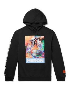 Embroidered Printed Organic Loopback Cotton-Jersey Hoodie